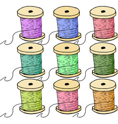 Colorful spools of thread set of bobbin vector