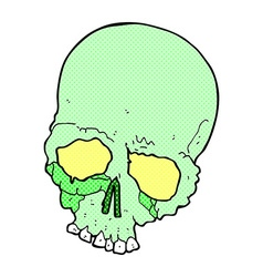 Comic cartoon spooky old skull vector