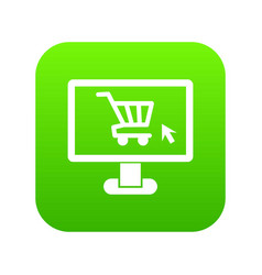 computer monitor with shopping cart icon digital vector image