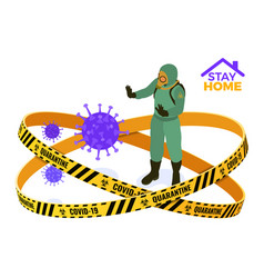 Covid-19 quarantine stay home doctor in vector