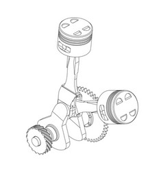 crankshaft and two pistons on a white vector image