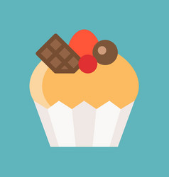 Cute cupcake with topping chocolate cherry and vector