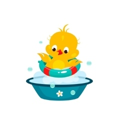 Cute Duckling in Bathroom vector image