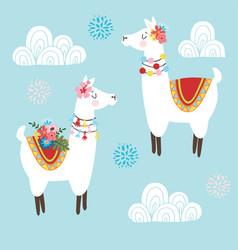 cute hand drawn lama alpaca or guanaco vector image