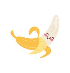 cute peeled banana kawaii food cartoon character vector image