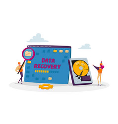 Data recovery service concept tiny male vector