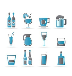 different kind of drink icons vector image