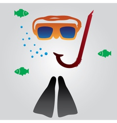 Diving and snorkeling equipment eps10 vector