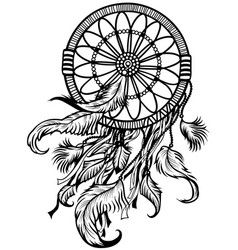 Dreamcatcher black and white vector