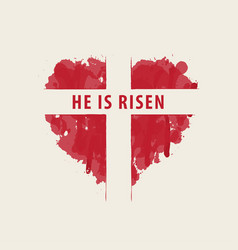 easter banner with cross in abstract red heart vector image