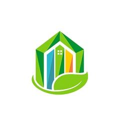 Eco house realty building environment logo vector