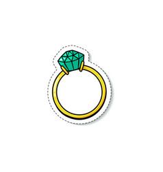 Engagement ring with green emerald diamond vector