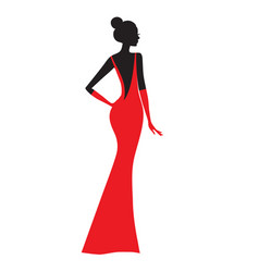 Fashion model silhouette of beautiful woman in vector