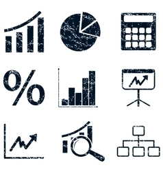 Financial icons set grunge vector