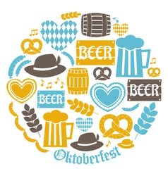 Flat design oktoberfest icons in blue and yellow vector