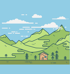 Flat house in green mountains vector