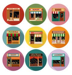 Flat shop store icon set vector