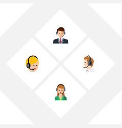 flat telemarketing set of telemarketing hotline vector image
