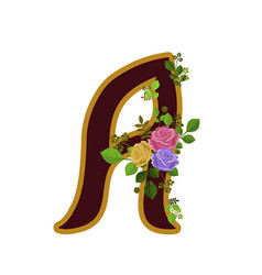 flower alphabet letter a decorated with roses and vector image