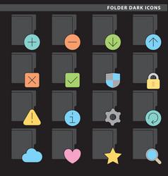 folder dark icons vector image