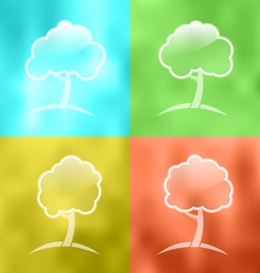 four seasonal icons with trees - vector image
