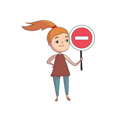 Girl holding a round red sign with white line vector