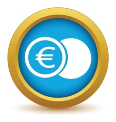 Gold euro coin icon vector image