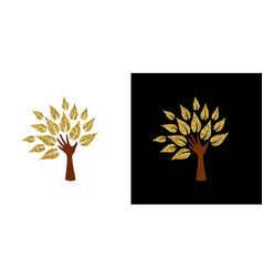 gold glitter hand tree symbol for nature help vector image vector image