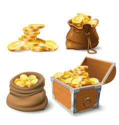 golden coins stacks coin in old sack large gold vector image