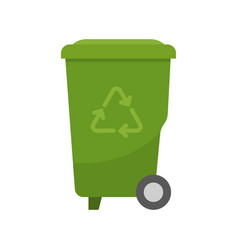 green recycle bin for garbage vector image