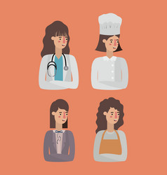 Group of women workers avatars characters vector