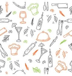 Hand drawn food seamless pattern Sketch kitchen vector