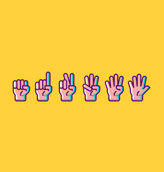 Hand gesture count 1 2 3 4 and 5 icons vector