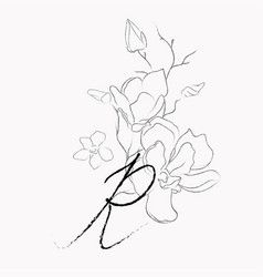 handwritten line drawing floral logo monogram r vector image