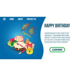 Happy birthday concept banner isometric style vector