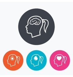 Head with brain iconFemale woman symbols vector image