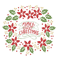 holiday card made hand lettering joy christmas vector image
