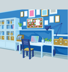 Home office interior of workplace perspective vector