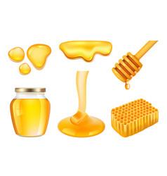 honey jar golden or yellow sticky splashes vector image