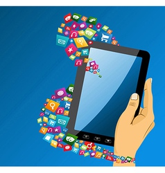 Human hand with tablet pc social media icons vector