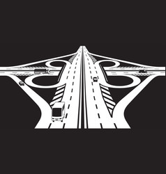 Intersection two highways vector