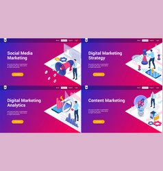 isometric landing page set 02 vector image