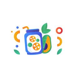 jar of vegan smoothie and avocado healthy vector image