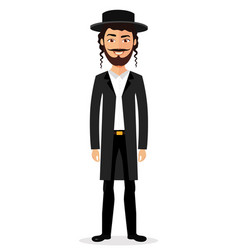 jewish man jew character isolated on white vector image