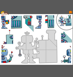 Jigsaw puzzle game with robot characters vector