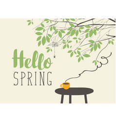 landscape on spring theme with cup on the table vector image
