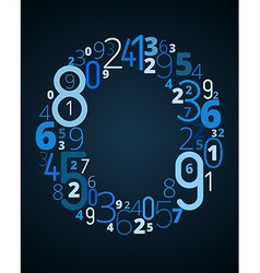 Letter O font from numbers vector