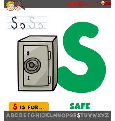 Letter s worksheet with cartoon safe vector