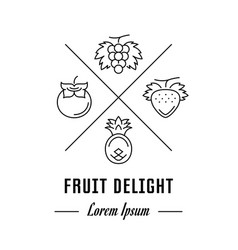 Line banner fruit delight vector