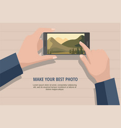 Man looking photos of nature landscape to phone vector